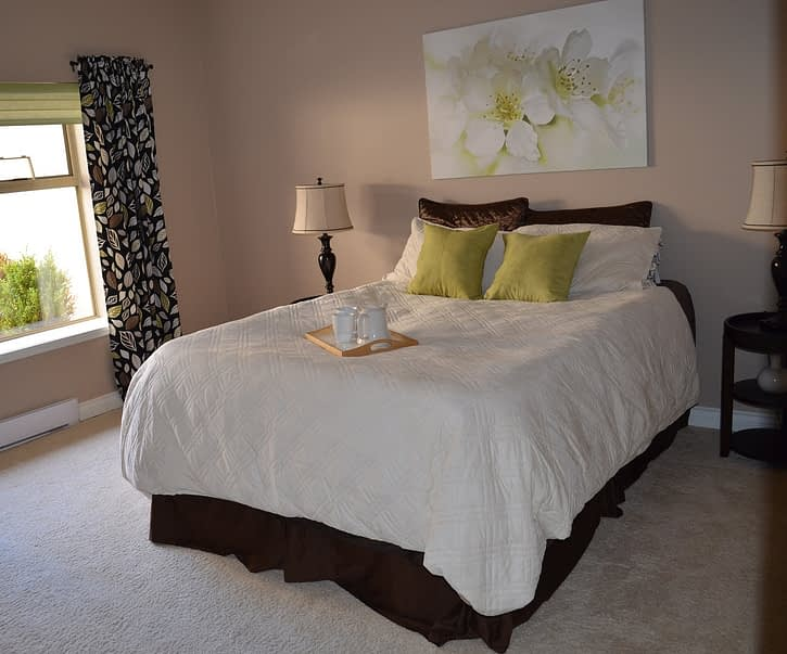 centrally placed bed